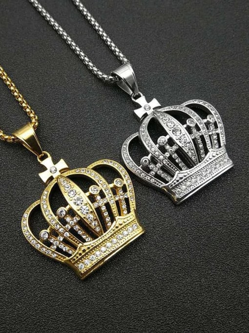 HI HOP Titanium Steel Rhinestone Crown Vintage Necklace