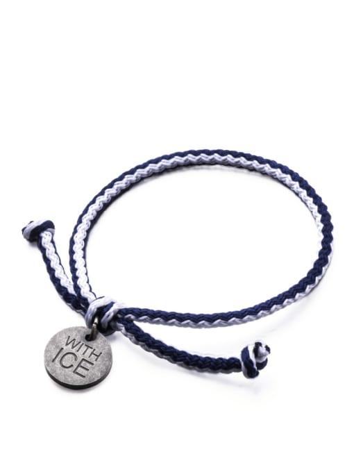 WOLF Titanium Steel Bowknot Hip Hop Woven Bracelet 2