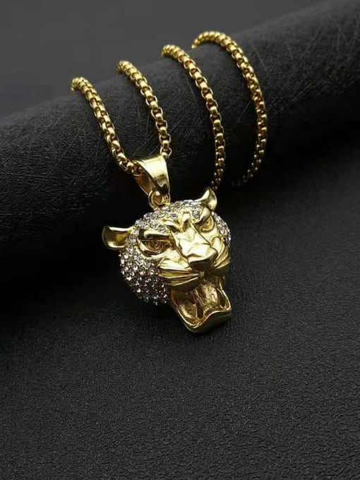 Diamond inlaid Chain+3mm*61cm Titanium Steel Rhinestone Lion Vintage Necklace