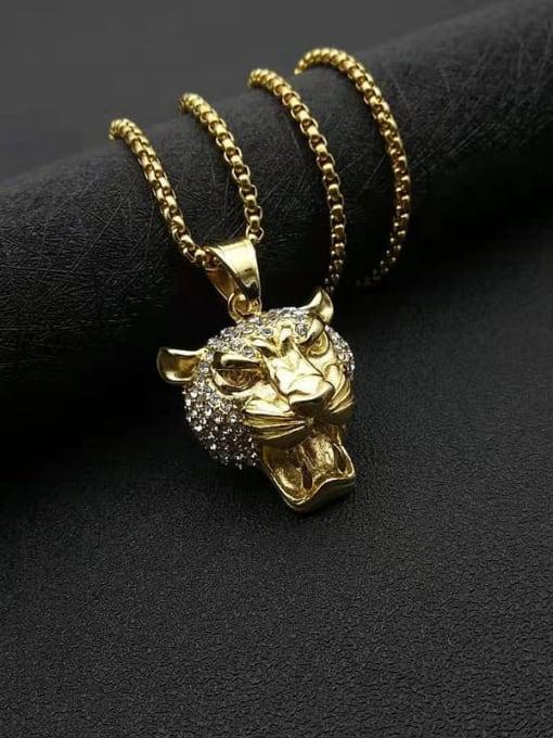 HI HOP Titanium Steel Rhinestone Lion Vintage Necklace 2