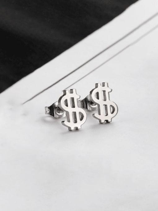 Steel color Titanium Steel Irregular Minimalist Stud Earring