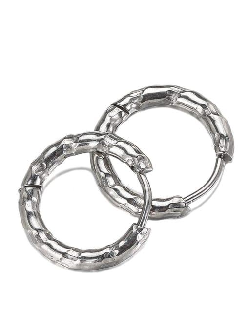 Steel color (single) Titanium Steel Geometric Hip Hop Single Earring (Single)