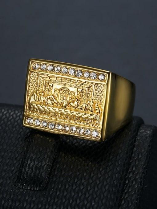 Gold Titanium Steel Rhinestone Rectangle Hip Hop Band Ring
