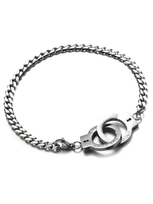 WOLF Titanium Steel Irregular Vintage Handcuffs  Link Bracelet 3