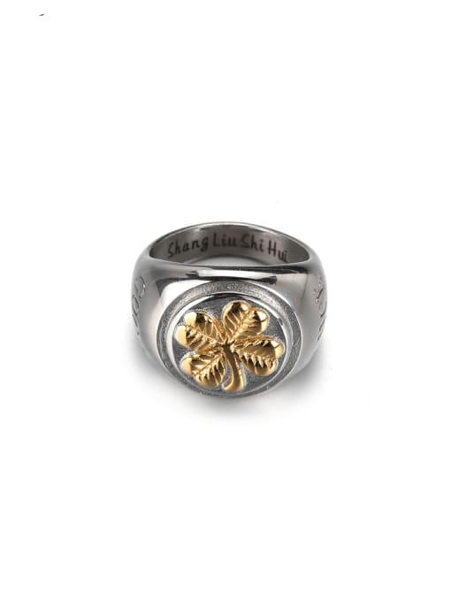 WOLF Titanium Steel Geometric Vintage Band Ring 0