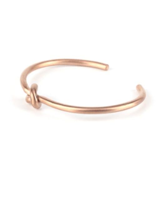 rose gold Titanium Steel Bowknot Hip Hop Cuff Bangle