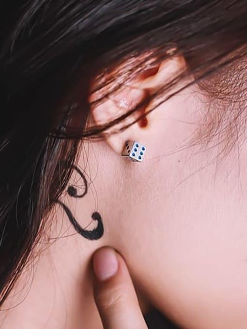 WOLF Titanium Steel Enamel Dice Minimalist Stud Earring 1
