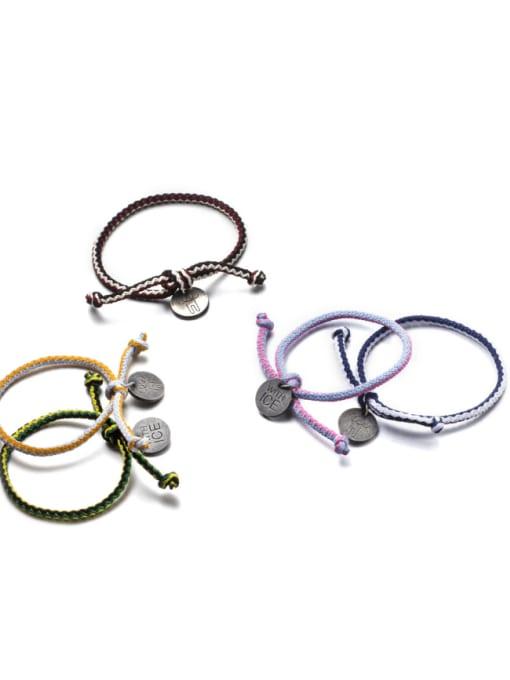 WOLF Titanium Steel Bowknot Hip Hop Woven Bracelet 3