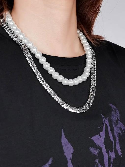 WOLF Titanium Steel Imitation Pearl Geometric Bohemia Multi Strand Necklace 1