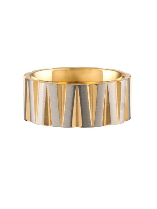 Between gold Titanium Steel Round Hip Hop Band Ring