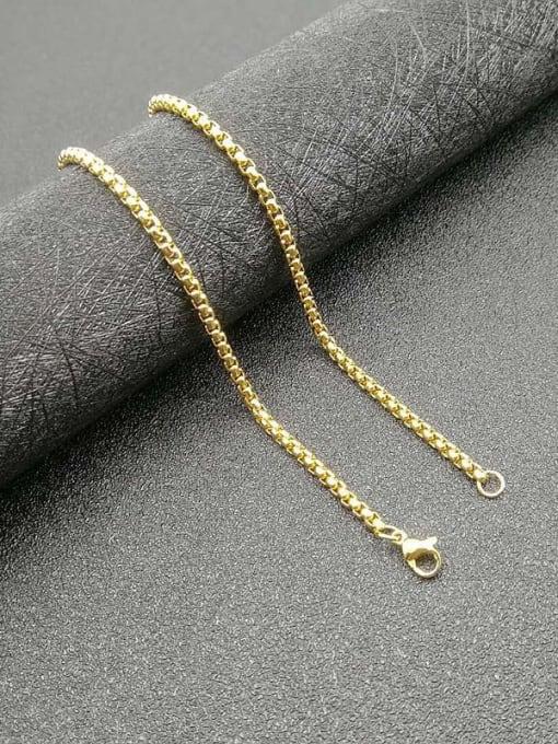 Gold Chain:3mm*61cm Titanium Steel Cubic Zirconia Enamel Leaf Vintage Necklace