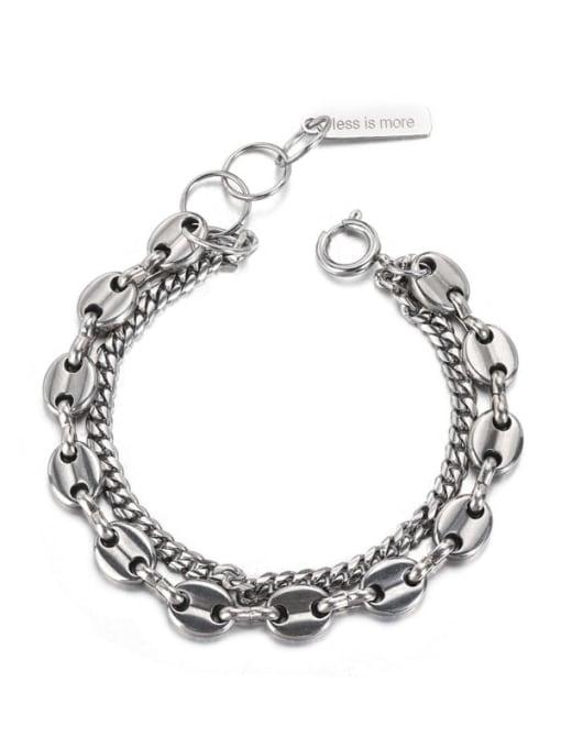 WOLF Titanium Steel Geometric Vintage Strand Bracelet 0