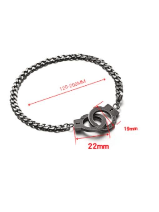 WOLF Titanium Steel Irregular Vintage Handcuffs  Link Bracelet 2