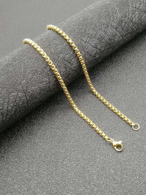 Gold 3mm*61cm Titanium Steel Rhinestone Irregular  Hip Hop Map Pendant Necklace