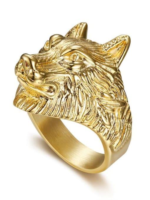 Gold Titanium Steel Wolf Vintage Band Ring