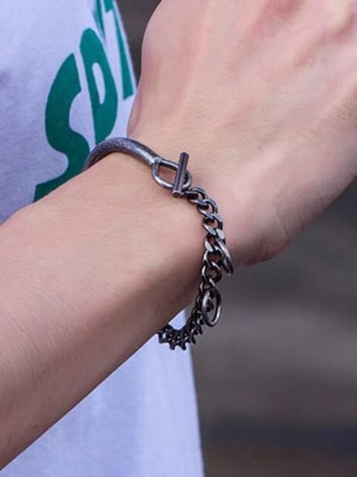 WOLF Titanium Steel Irregular Vintage Link Bracelet 2