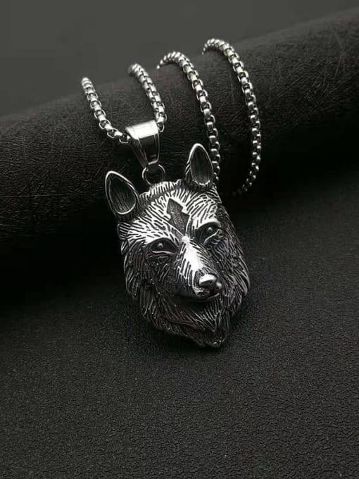 Steel color Titanium Steel Rhinestone Wolf Vintage Necklace