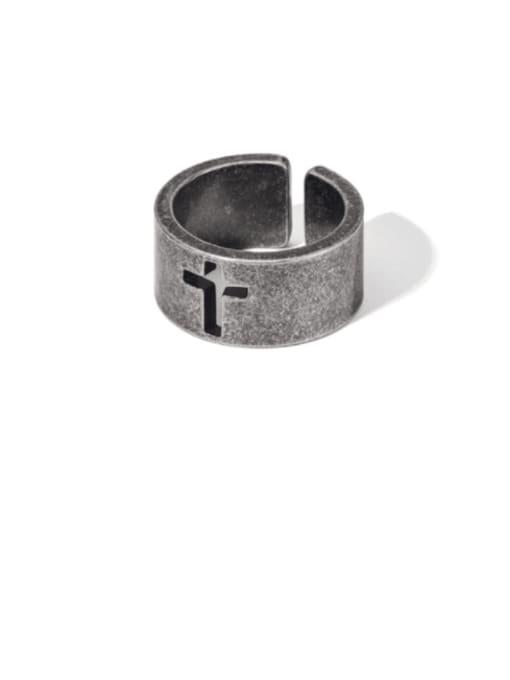 WOLF Titanium Steel Hollow Cross Vintage Band Ring 2