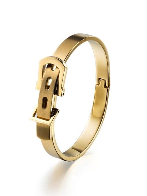 Local tyrant gold small Titanium Steel Irregular Hip Hop Belt buckle  Band Bangle