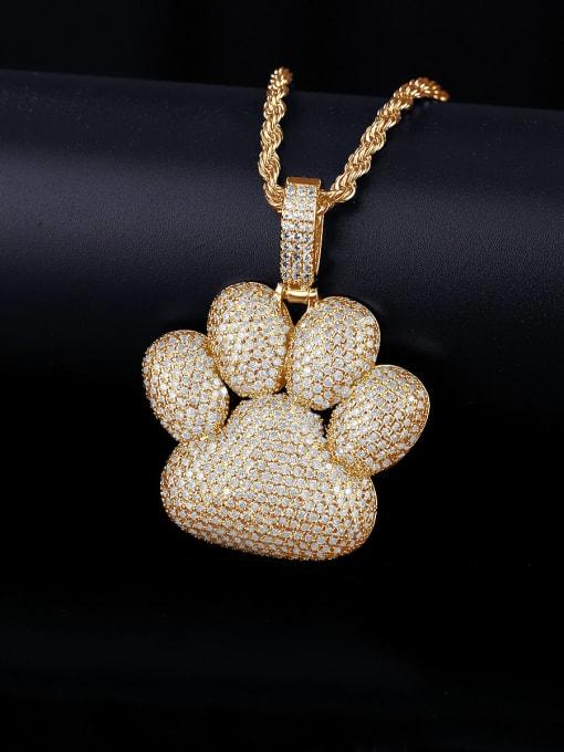 Teem Men Brass Cubic Zirconia Geometric Hip Hop Necklace 2