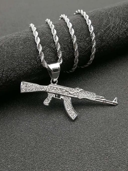 Steel color +Chain 3mm*61mm Titanium Steel Rhinestone Irregular Vintage Rifle Necklace