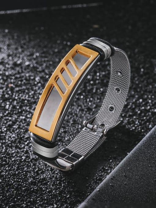 WOLF Titanium Steel Geometric Hip Hop Bracelet 0