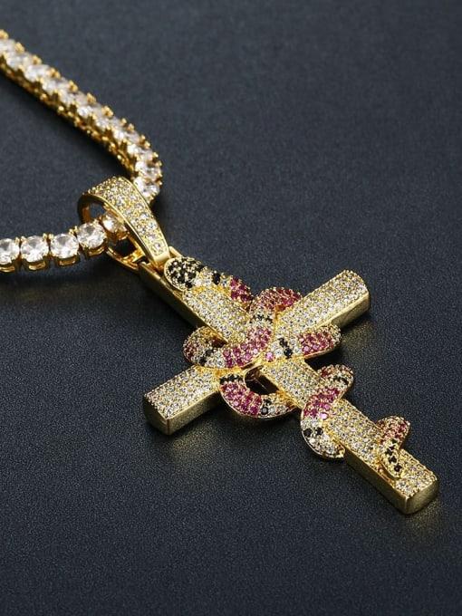 HI HOP Brass Cubic Zirconia Cross Vintage Regligious Necklace 1