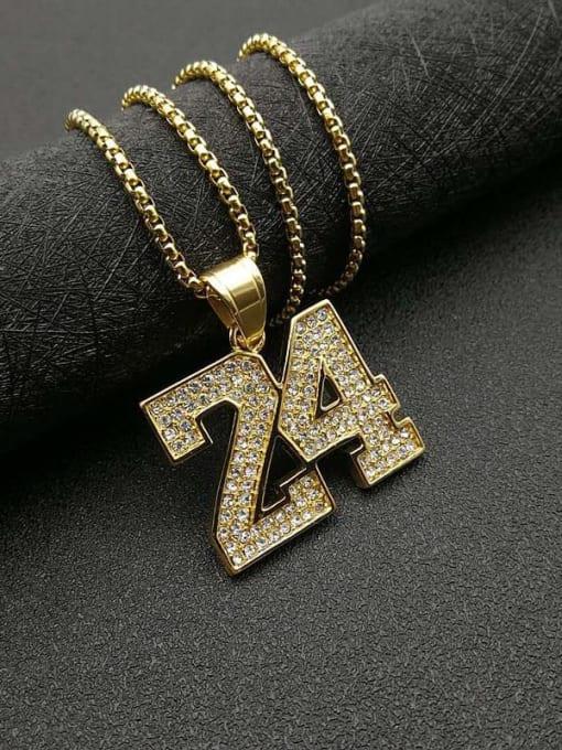 HI HOP Titanium Steel Rhinestone Number Vintage Necklace 2