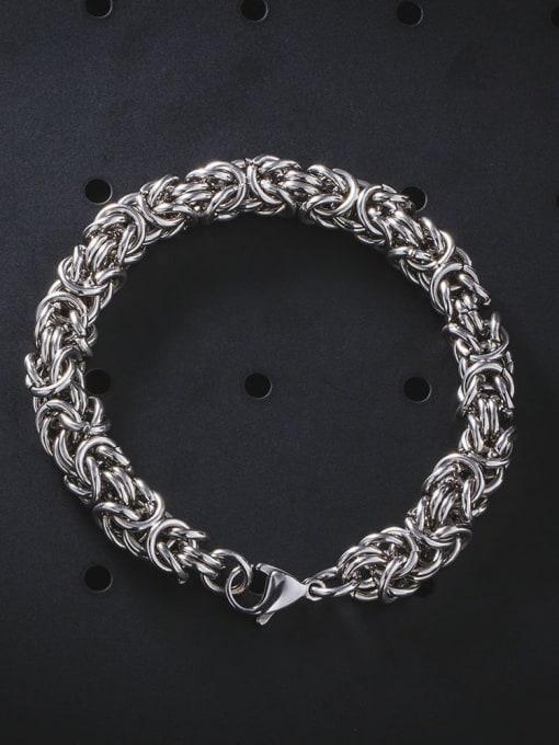 WOLF Titanium Steel Geometric Hip Hop Woven Bracelet 2