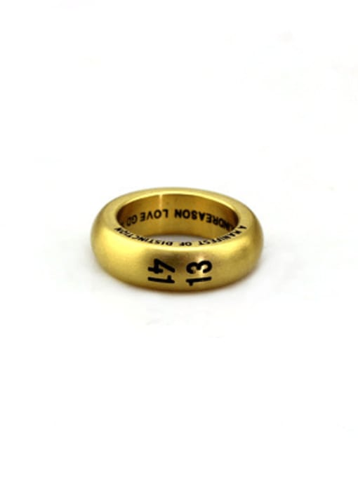 Gold (size 7) Titanium Steel Number Vintage Band Ring