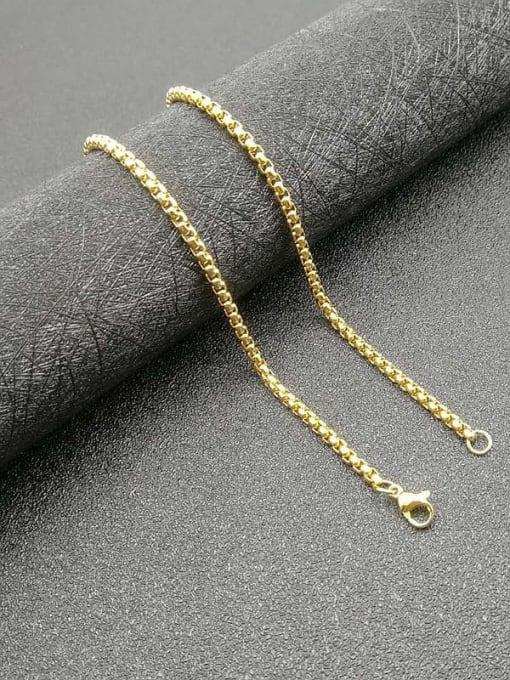 gold Chain:3mm*61cm Titanium Steel Rhinestone Wolf Vintage Necklace