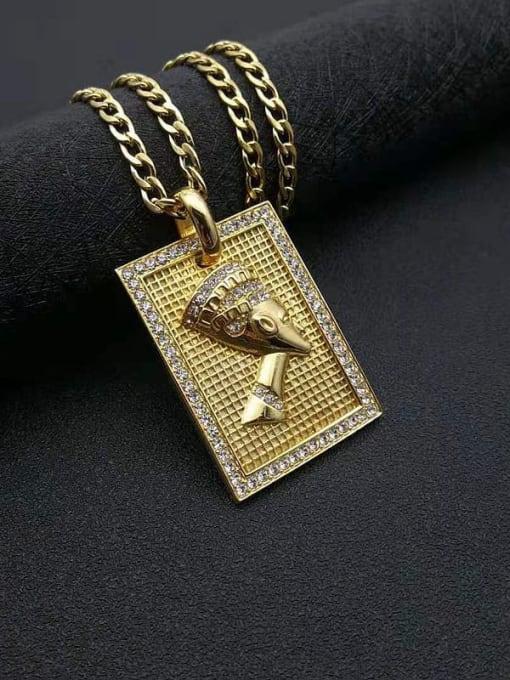 HI HOP Titanium Steel Rhinestone Geometric Vintage Necklace 0