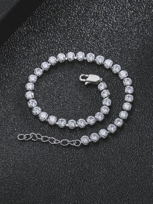 WOLF Titanium Steel Cubic Zirconia Geometric Minimalist Link Bracelet 2