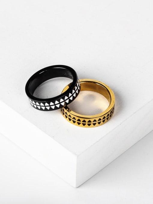 WOLF Titanium Steel Enamel Round Vintage Band Ring 0