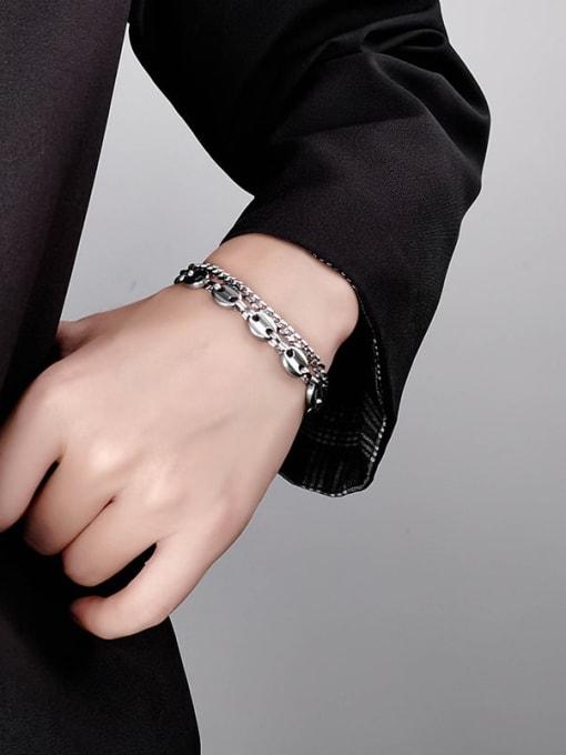 WOLF Titanium Steel Geometric Vintage Strand Bracelet 1