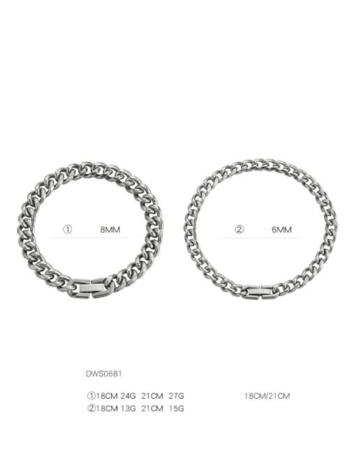 WOLF Titanium Steel Geometric Hip Hop Link Bracelet 4