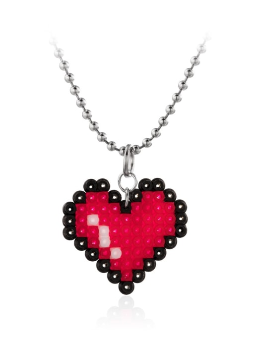 red Stainless steel Bead Heart Minimalist Necklace