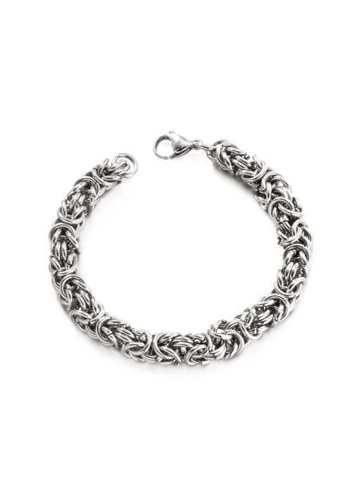 WOLF Titanium Steel Geometric Hip Hop Woven Bracelet 0