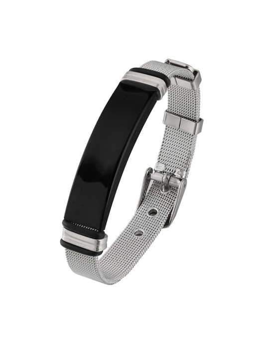 black Titanium Steel Geometric Hip Hop Bracelet