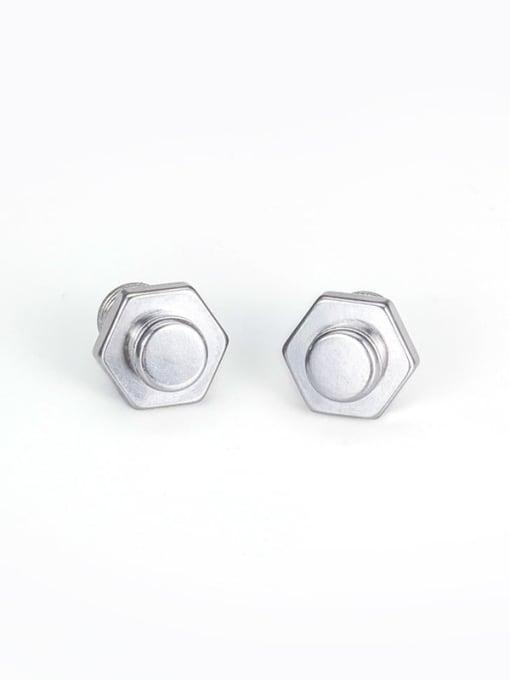WOLF Titanium Steel Irregular Vintage Stud Earring 4