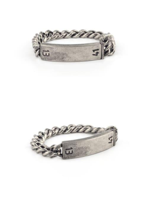 WOLF Titanium Steel Geometric Vintage Bracelet 0