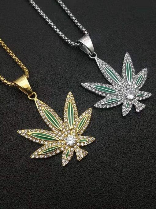 HI HOP Titanium Steel Cubic Zirconia Enamel Leaf Vintage Necklace
