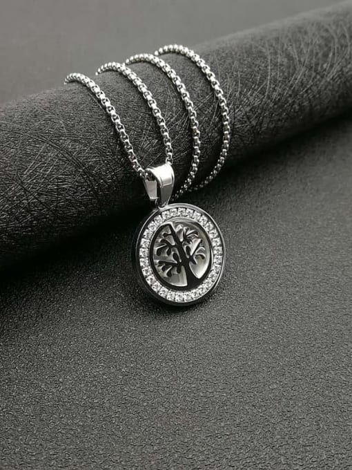 Steel color+Chain 2cm*61cm Titanium Steel Rhinestone Tree Vintage Necklace