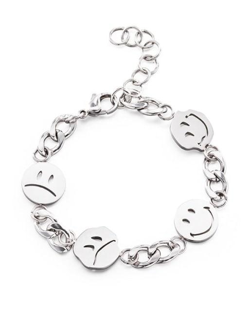 Steel color Titanium Steel Smiley Minimalist Link Bracelet