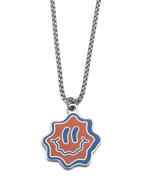 WOLF Titanium Steel Enamel Smiley Hip Hop Necklace 0