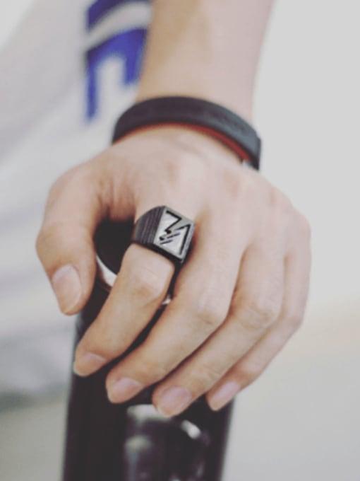 WOLF Titanium Steel Geometric Hip Hop Band Ring 2