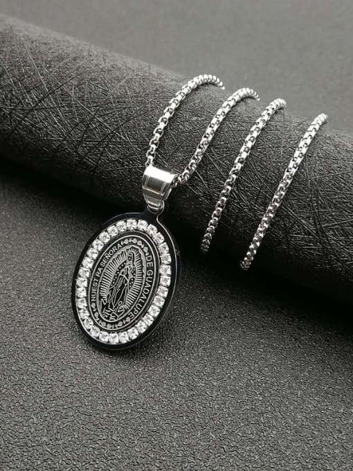 Steel color +2mm*61cm Titanium Steel Religious Vintage Necklace