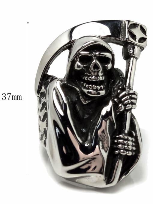 HI HOP Titanium Steel Skull Vintage Band Ring 3