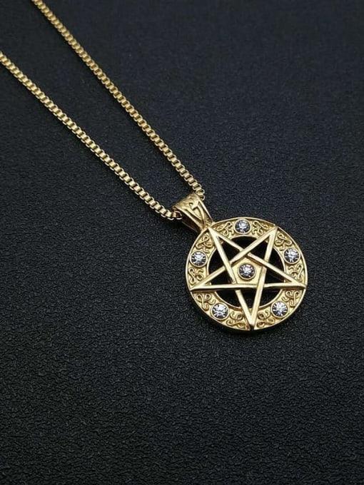 HI HOP Titanium Steel Rhinestone Star Vintage Necklace 1