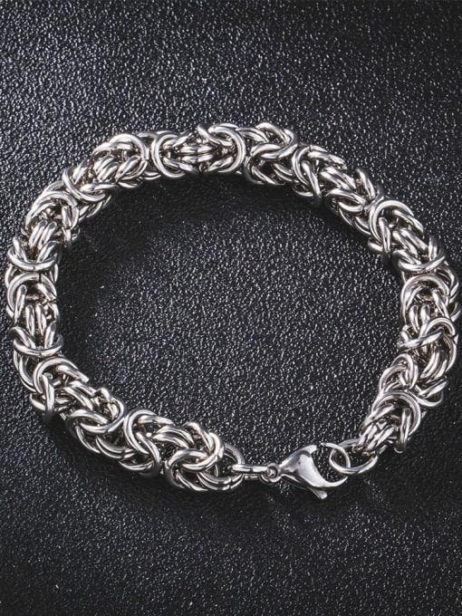 WOLF Titanium Steel Geometric Hip Hop Woven Bracelet 1